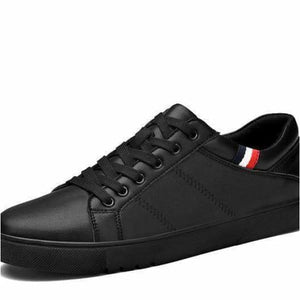 Mens leather classic casual Shoes - Black / 7