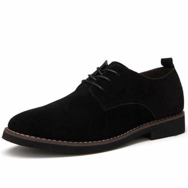 Faux Suede Leather Men casual oxford shoes - Black / 6