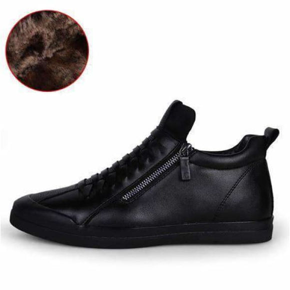 Mens dress leather ankle boots - Black With Fur / 6.5