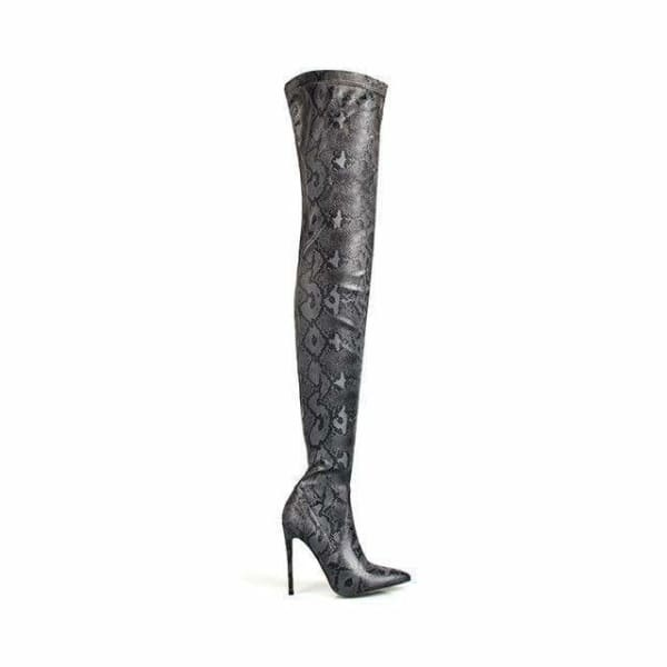 Snake pattern  high heel over the knee boots