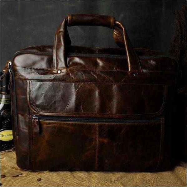Men oil waxy leather antique design business briefcase - coffee