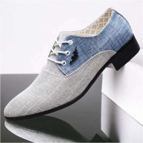 Leather breathable canvas loafers shoes