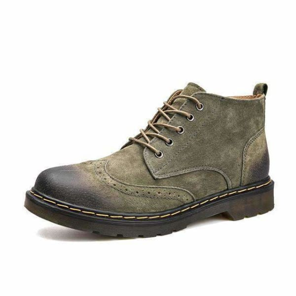 Genuine Leather mens vintage boots - Green / 7