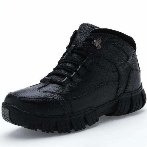 Mens leather winter boots - black / 6.5