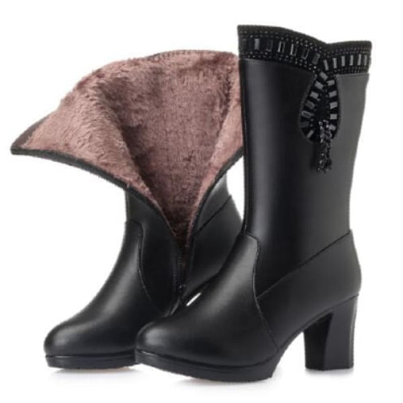 Thick heels leather mid calf boots
