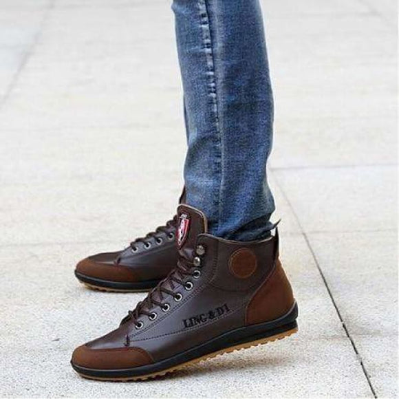 Fashion Autumn Winter leather boots for men - coffee / 6.5