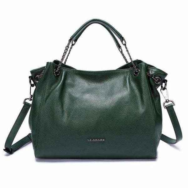 Women shoulder handbags bags cow leather - Green