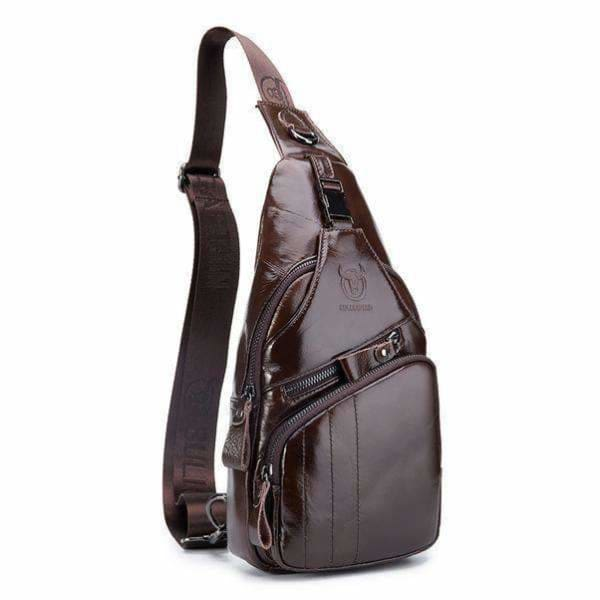 Genuine leather men's sling bags