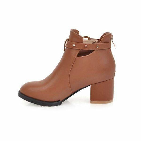 Women heeled square ankle boots
