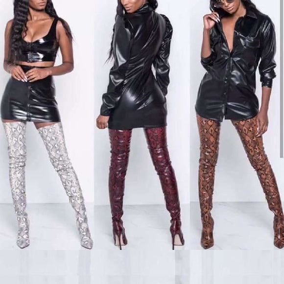 Snake pattern over the knee boots for women