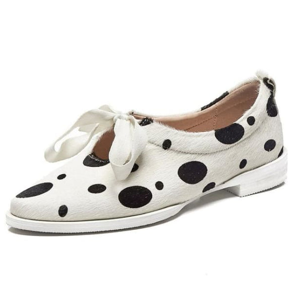 Dalmatian design  women's lace flat shoes