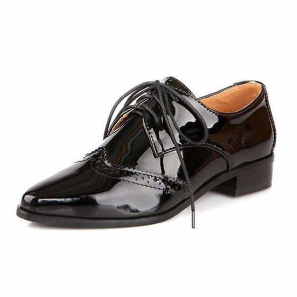 England Style womens oxford shoes - black / 3.5 - women shoes