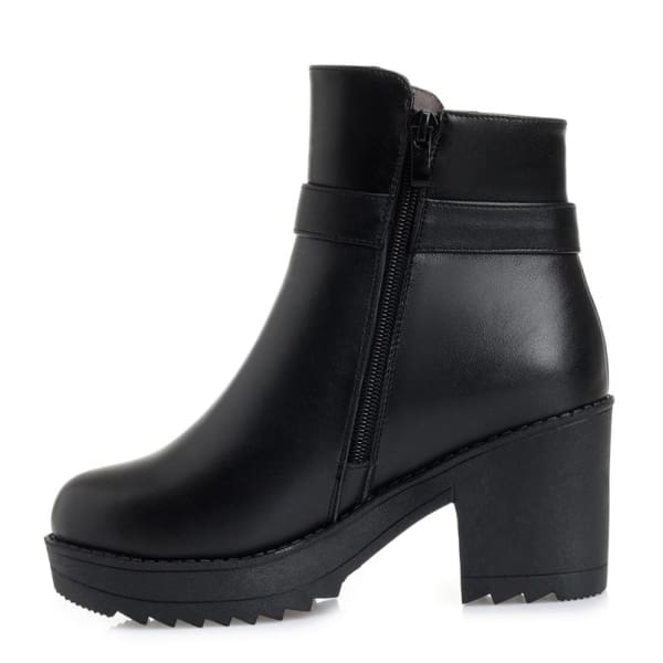 Comfortable Thick Heel black leather ankle boots