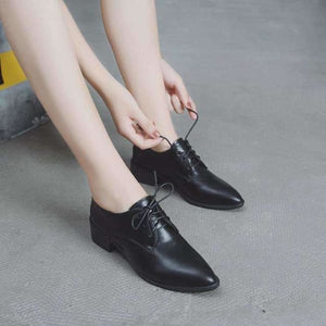 Pointed toe lace up womens oxford shoes