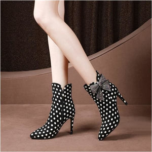 Women ankle boots with Butterfly knot