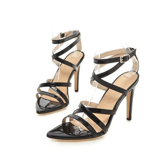 Women cross ankle strap high heel sandals