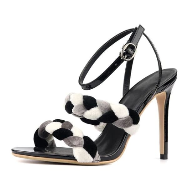 Women`s black ankle strap sandals