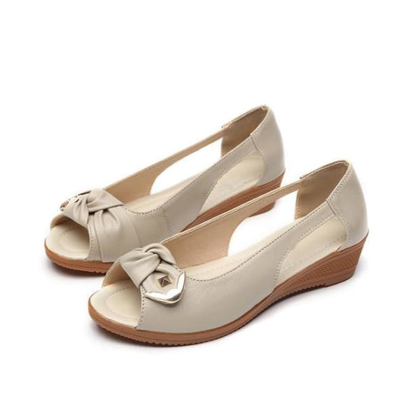Leather flats slip-on casual sandals for women - beige / 5 - sandals