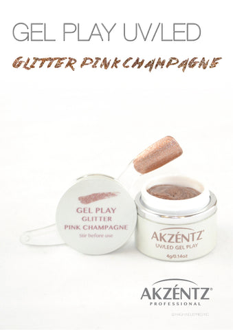 Glitter Pink Champagne Metallic - Akzentz Gel Play UV/LED