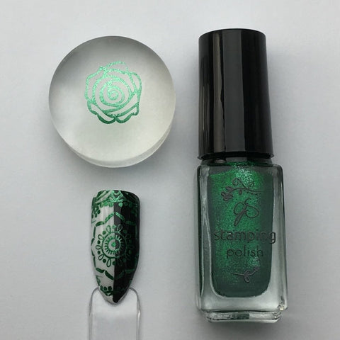 #61 Glitzy Evergreen Stamping Polish