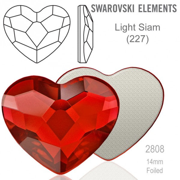 Heart Flat Back Lt. Siam 6mm - 10ct - Swarovski