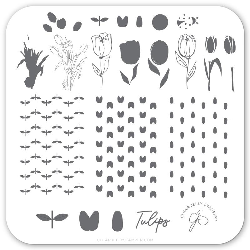 Tu Many Tulips (CjS-111) - CJS Small Stamping Plate