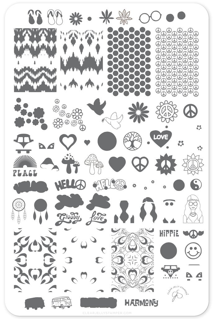 Hippie Harmony (CjS-117) - Clear Jelly Stamping Plate