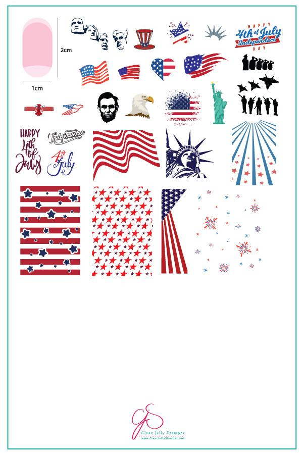 Independence Day (CjS-62)  - Clear Jelly Stamping Plate