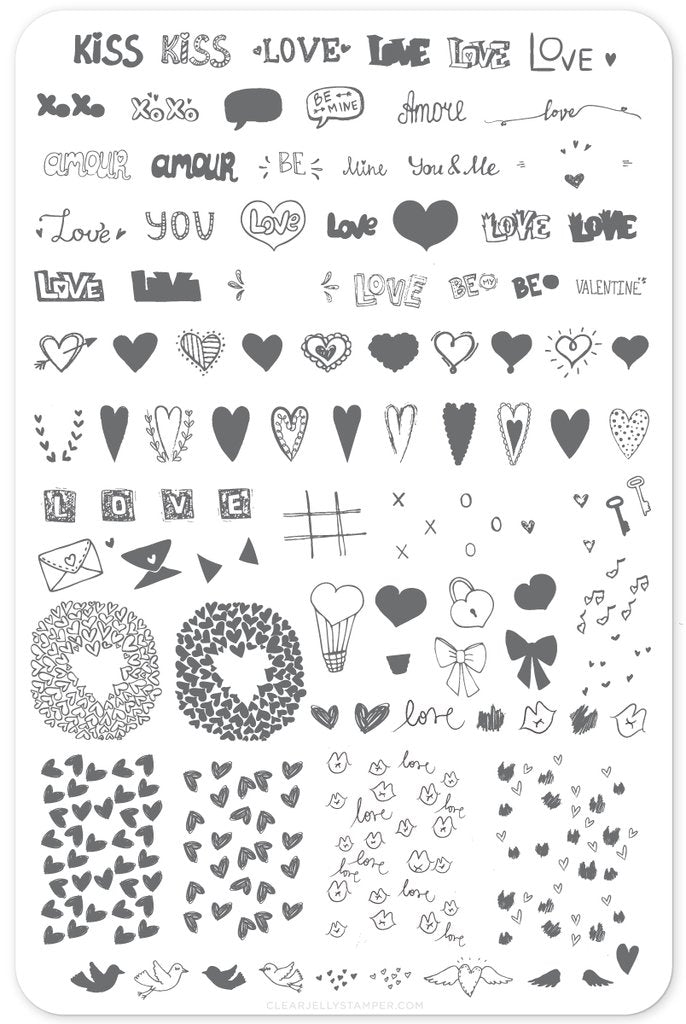 LoVe Notes (CjS V-12)  - Clear Jelly Stamping Plate