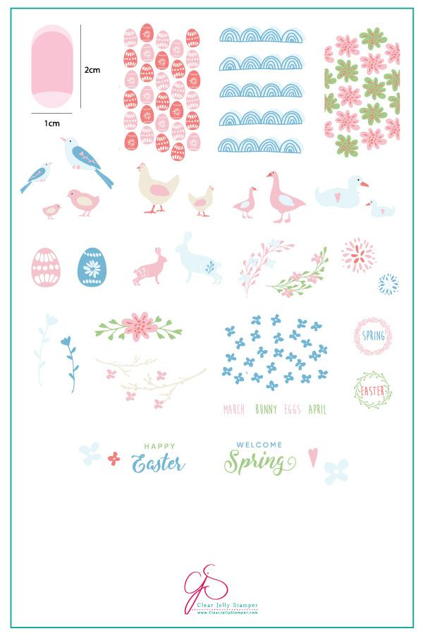 Springtime Easter (CjS H-28) - Clear Jelly Stamping Plate