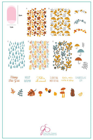 Fallpaper - Happy Fall Y'all! (CjS-133)  - Clear Jelly Stamping Plate