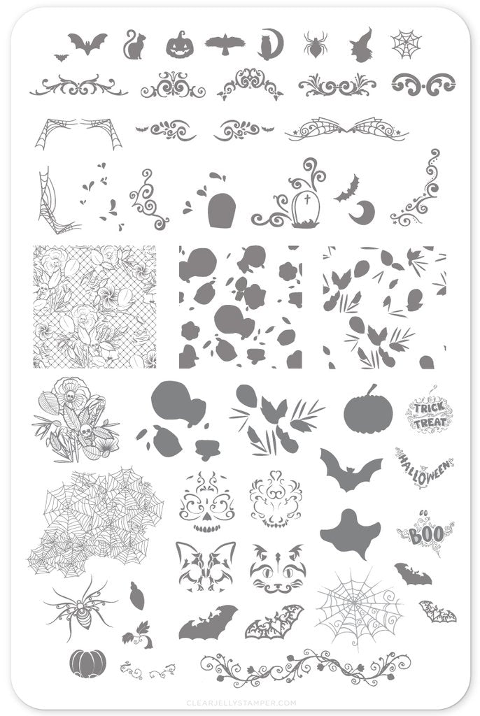 Gurly Swirly Halloween (CjS H-25) - Clear Jelly Stamping Plate