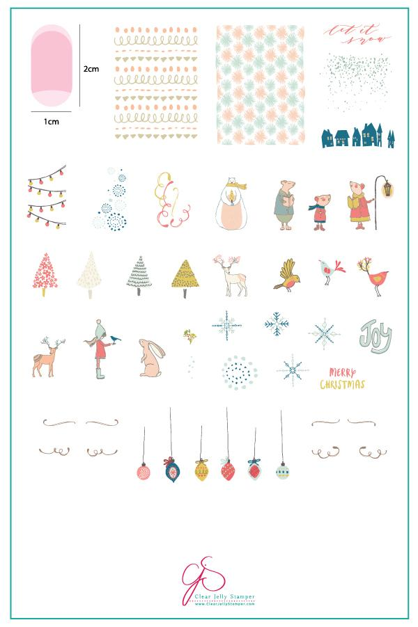 Happy Little Holiday (CjS C-31) - Clear Jelly Stamping Plate