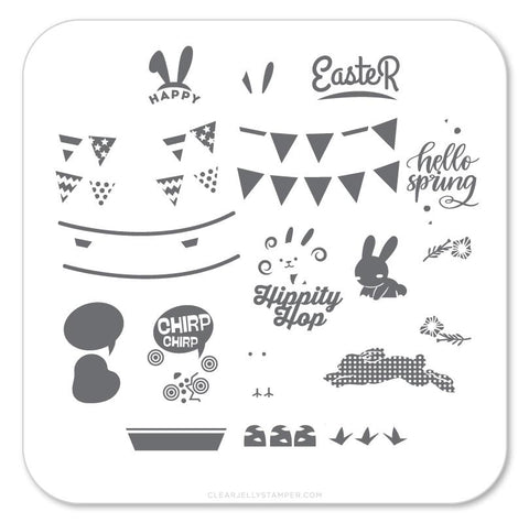 Hippity Easter (CjSH-12) - CJS Small Stamping Plate