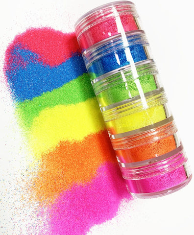Neon Glitter Stacker - Set of 6