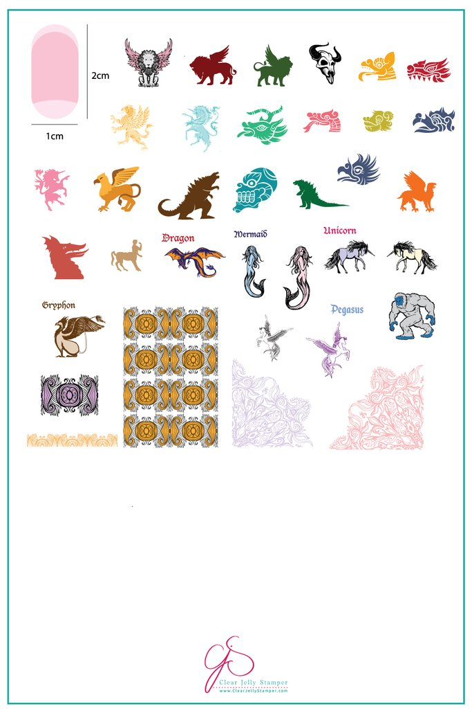 Mythical Creatures (CjS-107)   - Clear Jelly Stamping Plate
