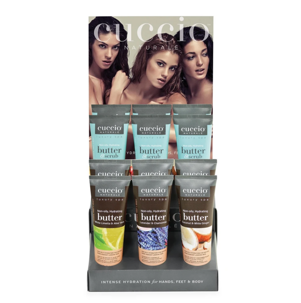 Cuccio Butter Scrub Display #2 / 4 each or 4 oz. Butter Scrubs - 12 Products
