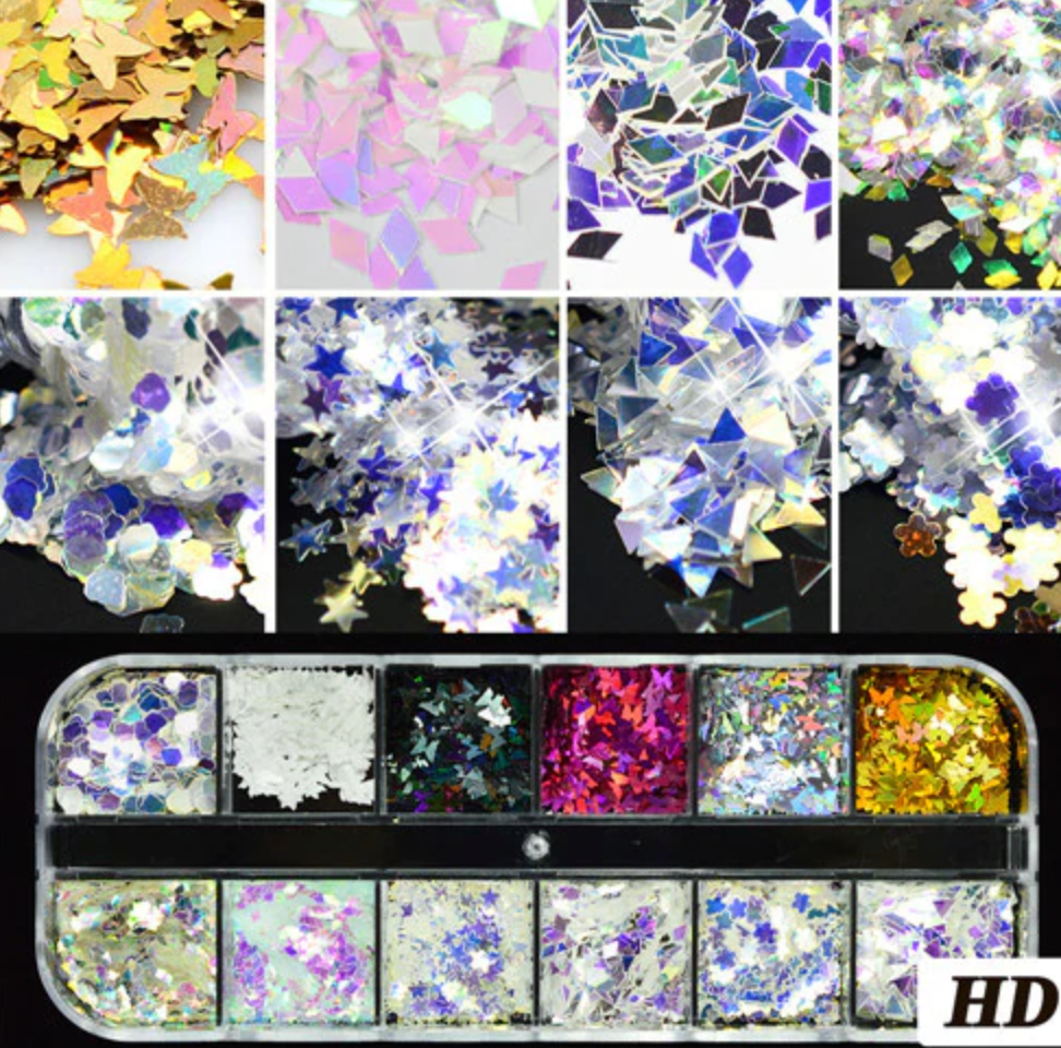 Glitter Kit Sets with 12 Different Glitters - MIX