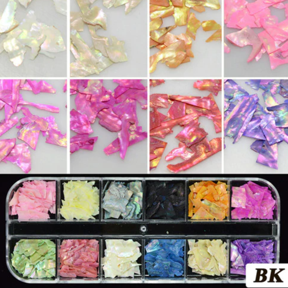 Glitter Kit Sets with 12 Different Glitters -  Shell Pieces BK