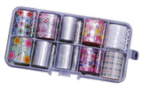 Silver/Floral/Plaid Mix Foil Set of 10 in Case