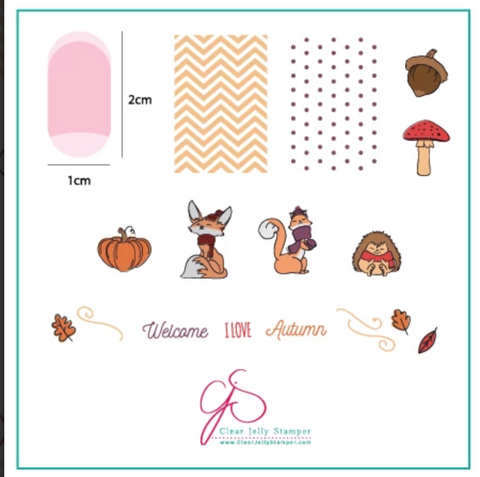 Foxy Fall (CjS-136)- CJS Small Stamping Plate
