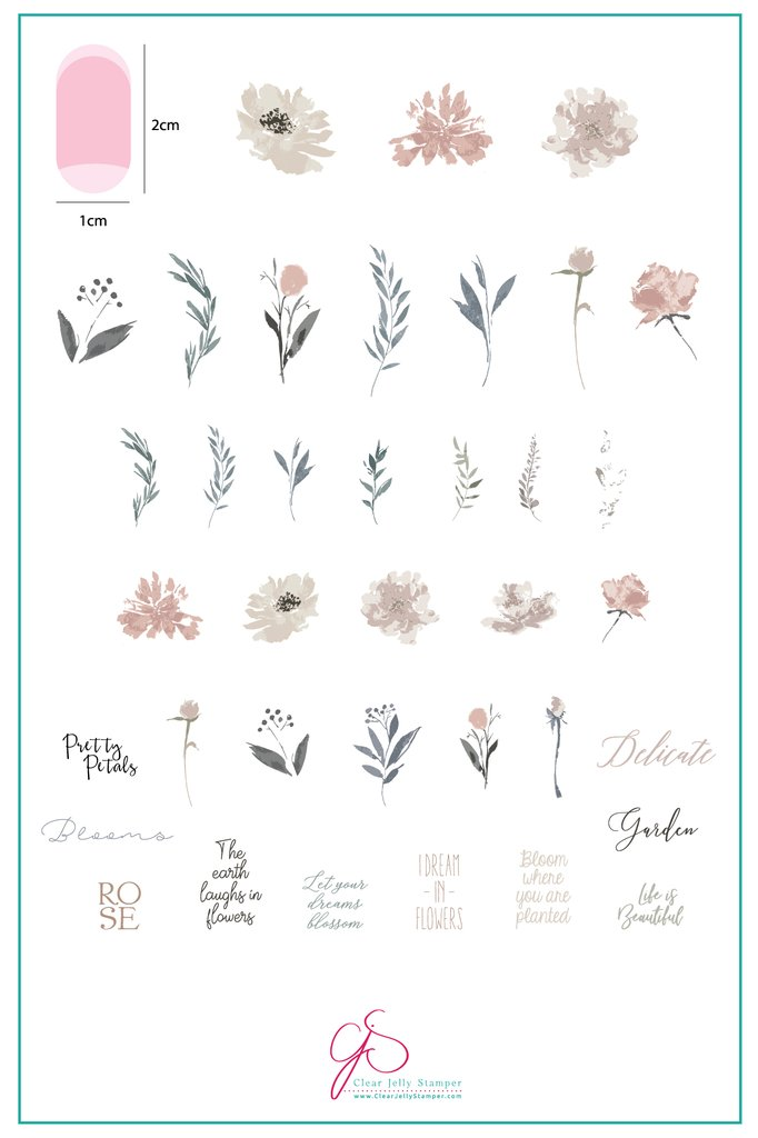 Watercolour Garden (CjS-81)  - Clear Jelly Stamping Plate