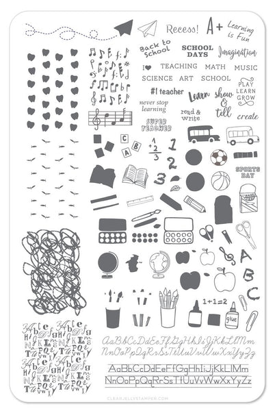 Back To School (CjS-44) - Primary - Clear Jelly Stamping Plate