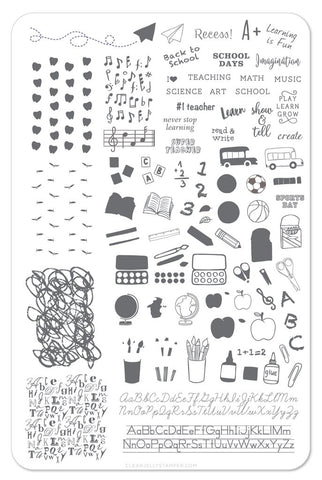 Back To School - Primary - Clear Jelly Stamping Plate