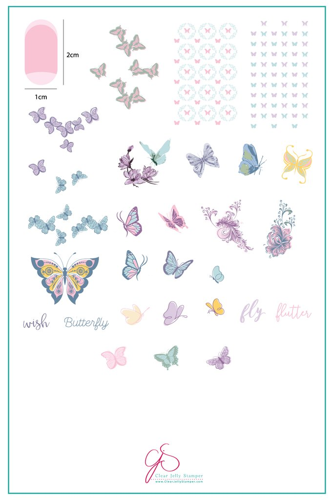 Butterfly Wishes (CjS-80) - Clear Jelly Stamping Plate