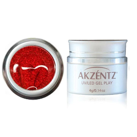Glitter Cherry Red - Akzentz Gel Play UV/LED