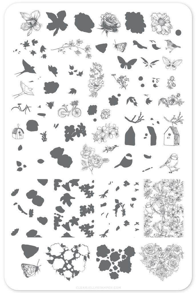 Delicate Garden (CjS-58) - Clear Jelly Stamping Plate