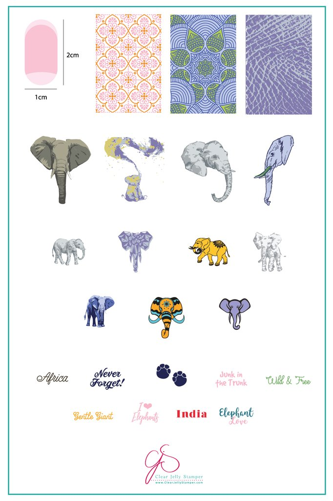 Everything Elephant (CjS LC-44) - Clear Jelly Stamping Plate
