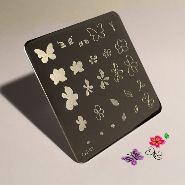 Flower and Butterfly (CjS-01) - CJS Small Stamping Plate