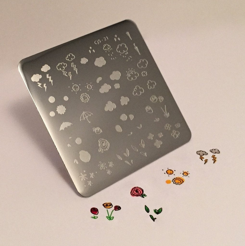 Flower and Sky Doodle (CjS-21) - CJS Small Stamping Plate